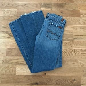 7 For All Mankind 7FAM Distress Flare Denim Jeans